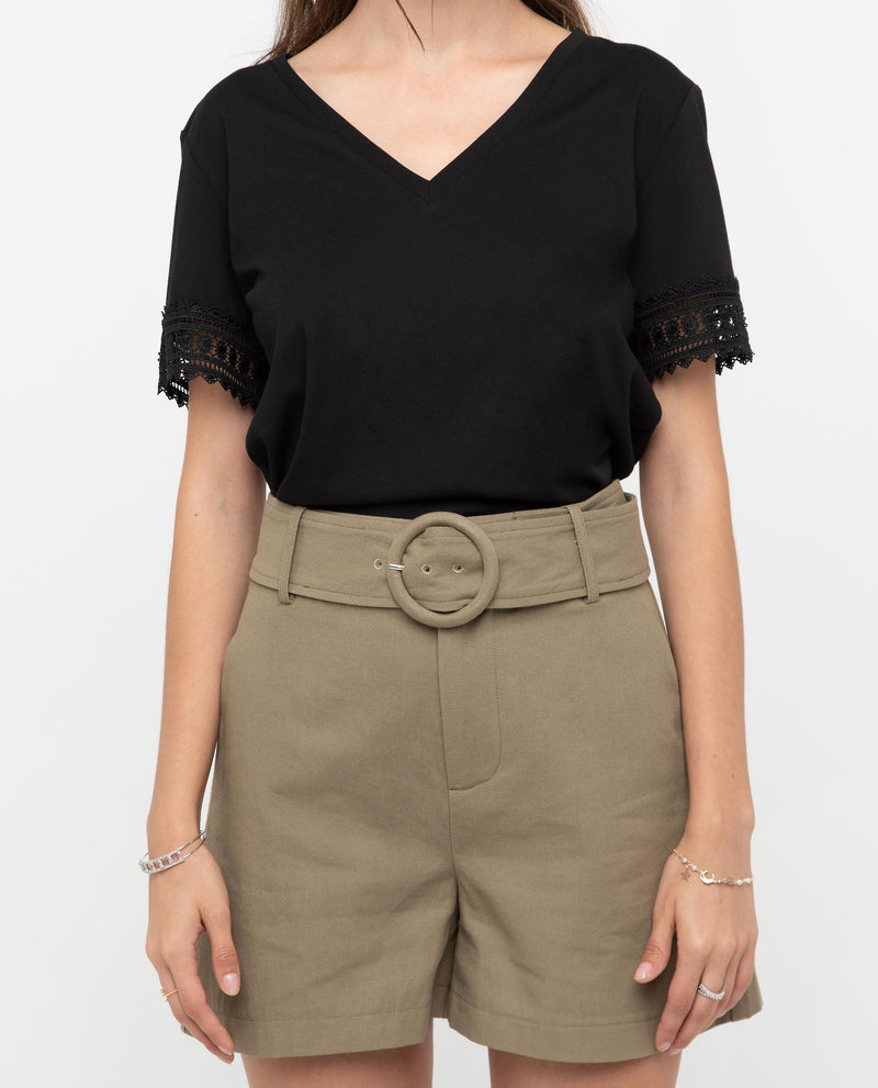 Xeanna Lace Trim V Neck Top Tops OSMOSE-STORES