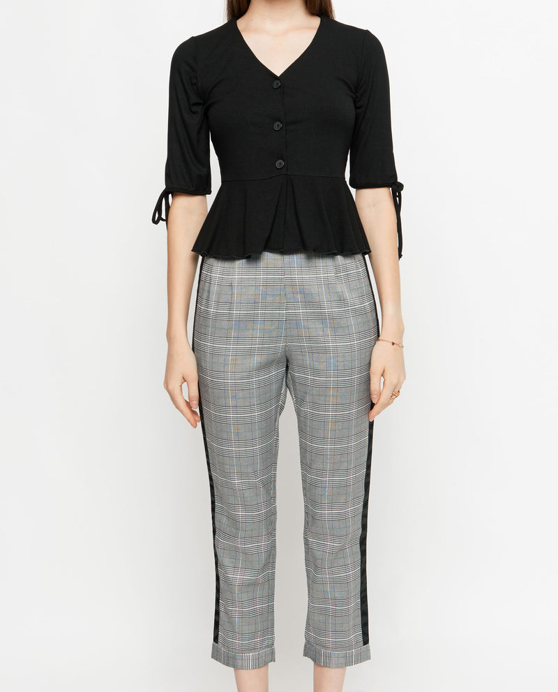Xiola Plaid Capri Pants Bottoms OSMOSE-STORES