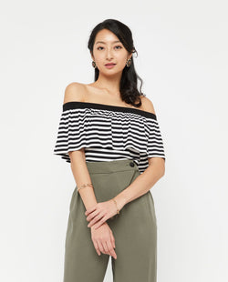 Yonov Stripe Off Shoulder Top Tops OSMOSE-STORES