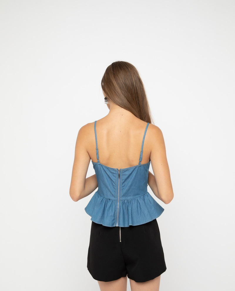Zain Denim Peplum Top