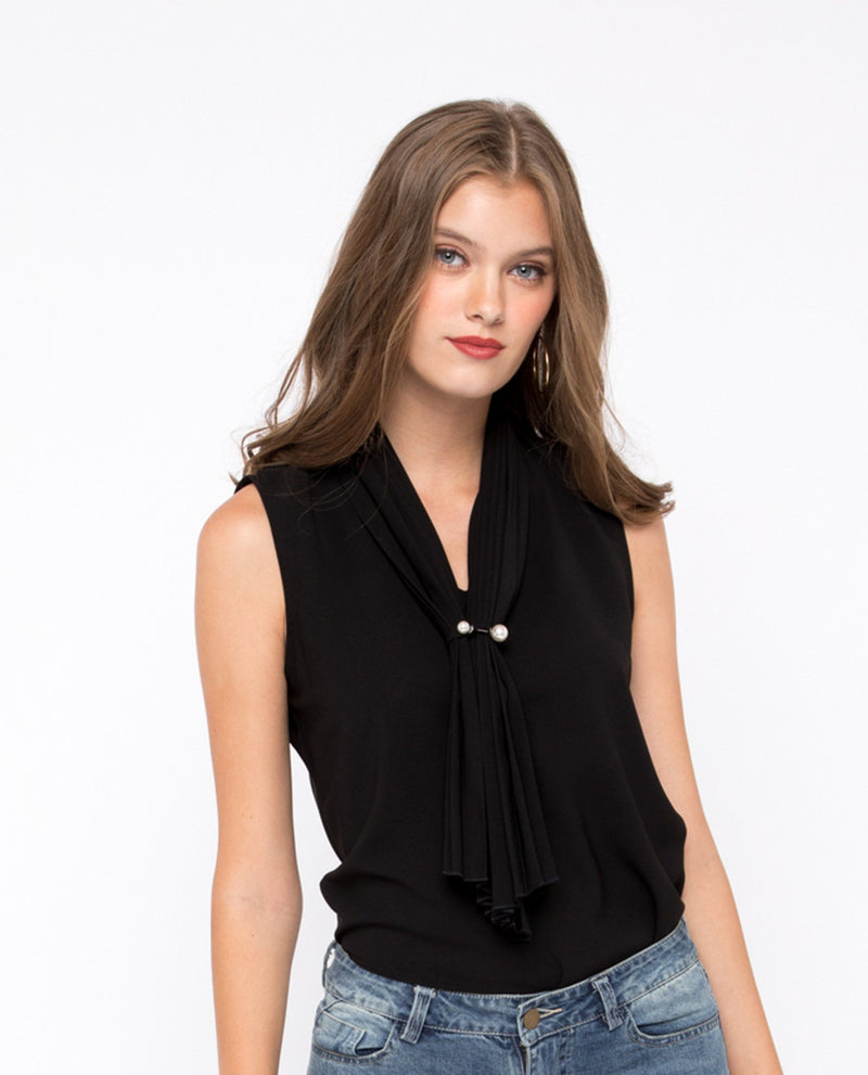 Zenra Pleated Neck Top