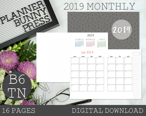 B6 TN 2019 Monthly PRINTABLE Insert