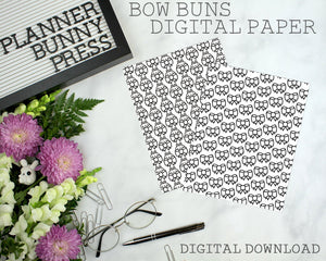Bow Bunnies Paper | DIGITAL DOWNLOAD | Printable | Bunny Rabbit