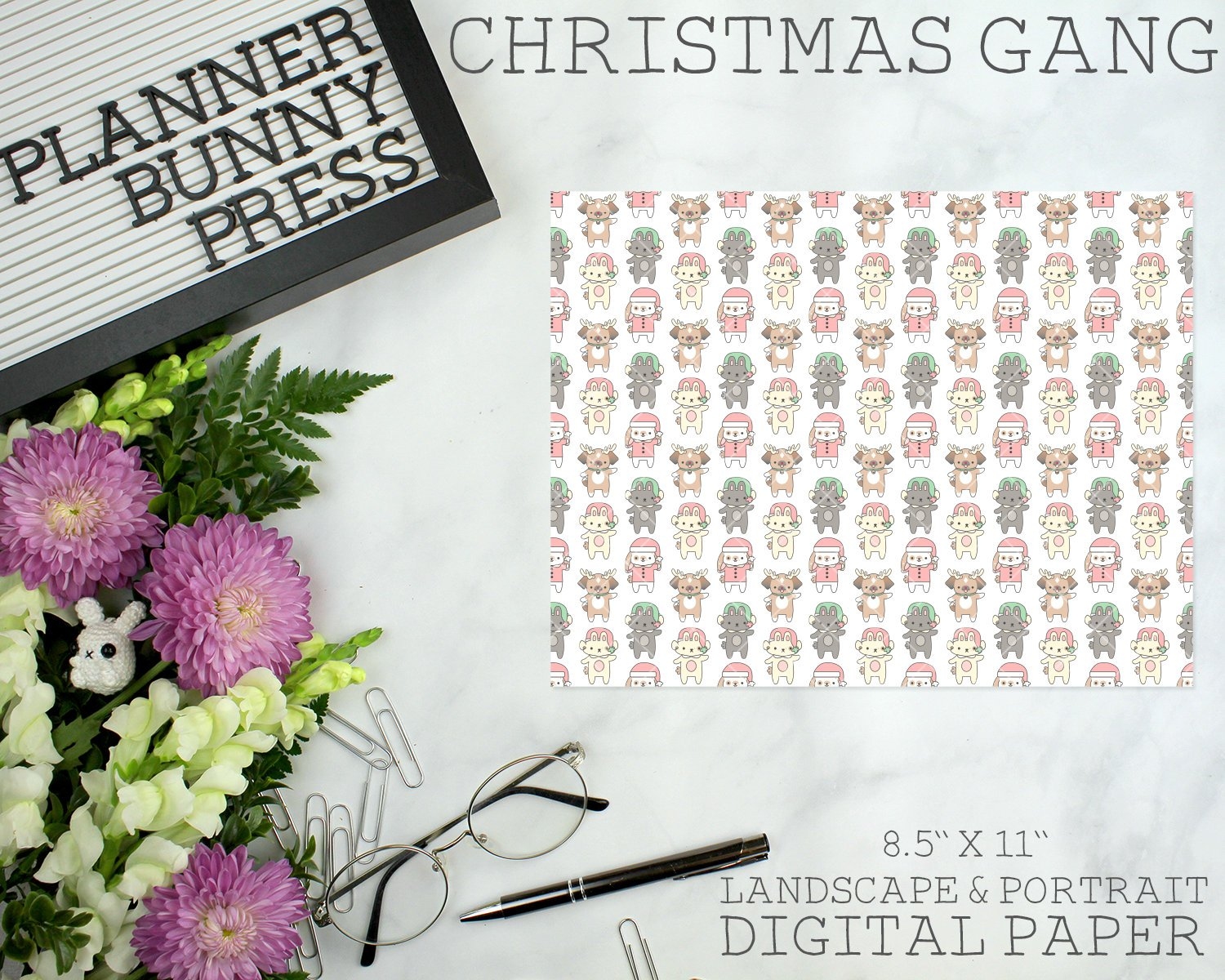 Christmas Gang | DIGITAL DOWNLOAD | Printable | Bunny Rabbit Dog Puppy Winter Snowman
