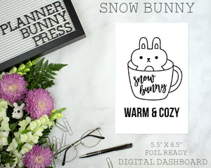 Snow Bunny | DIGITAL DOWNLOAD | Printable | Bunny Rabbit Dog Puppy Winter Christmas Dashboard