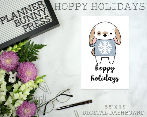Hoppy Holidays | DIGITAL DOWNLOAD | Printable | Bunny Rabbit Dog Puppy Winter Christmas Dashboard
