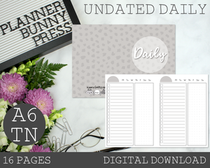 A6 TN Undated Daily PRINTABLE Insert