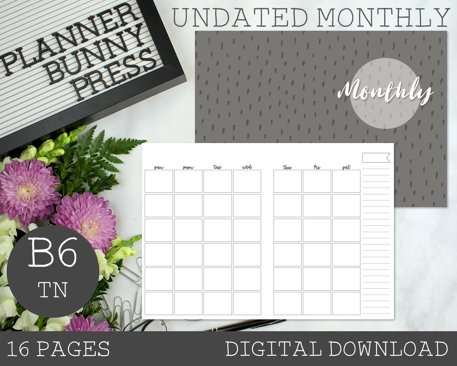B6 TN Undated Monthly PRINTABLE Insert