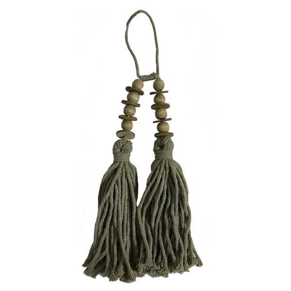 Twin Tassel with Beads 38cm Taupe Green