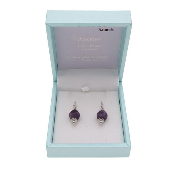 Amethyst Earings Polished 10mm Drop