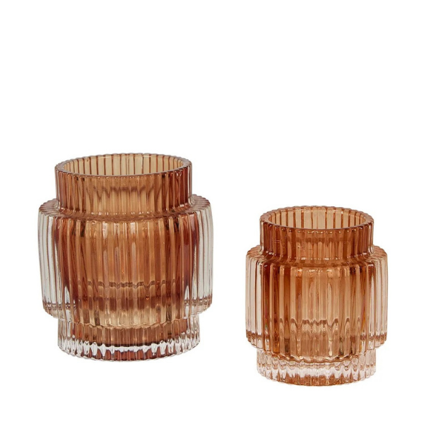 Stripp Glass Tealight Sml Amber