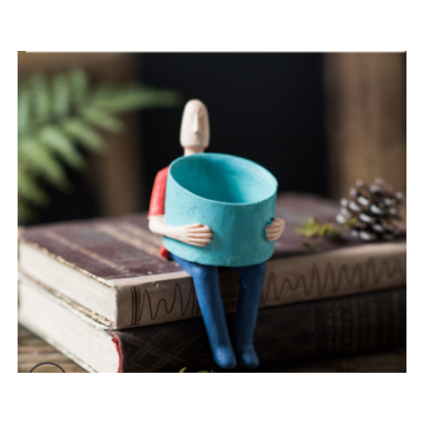 Garden Men Pot Blue 16cm