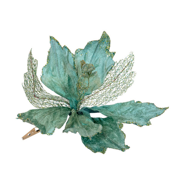 Fabric Clip on Poinsettia Sage Green 30cm