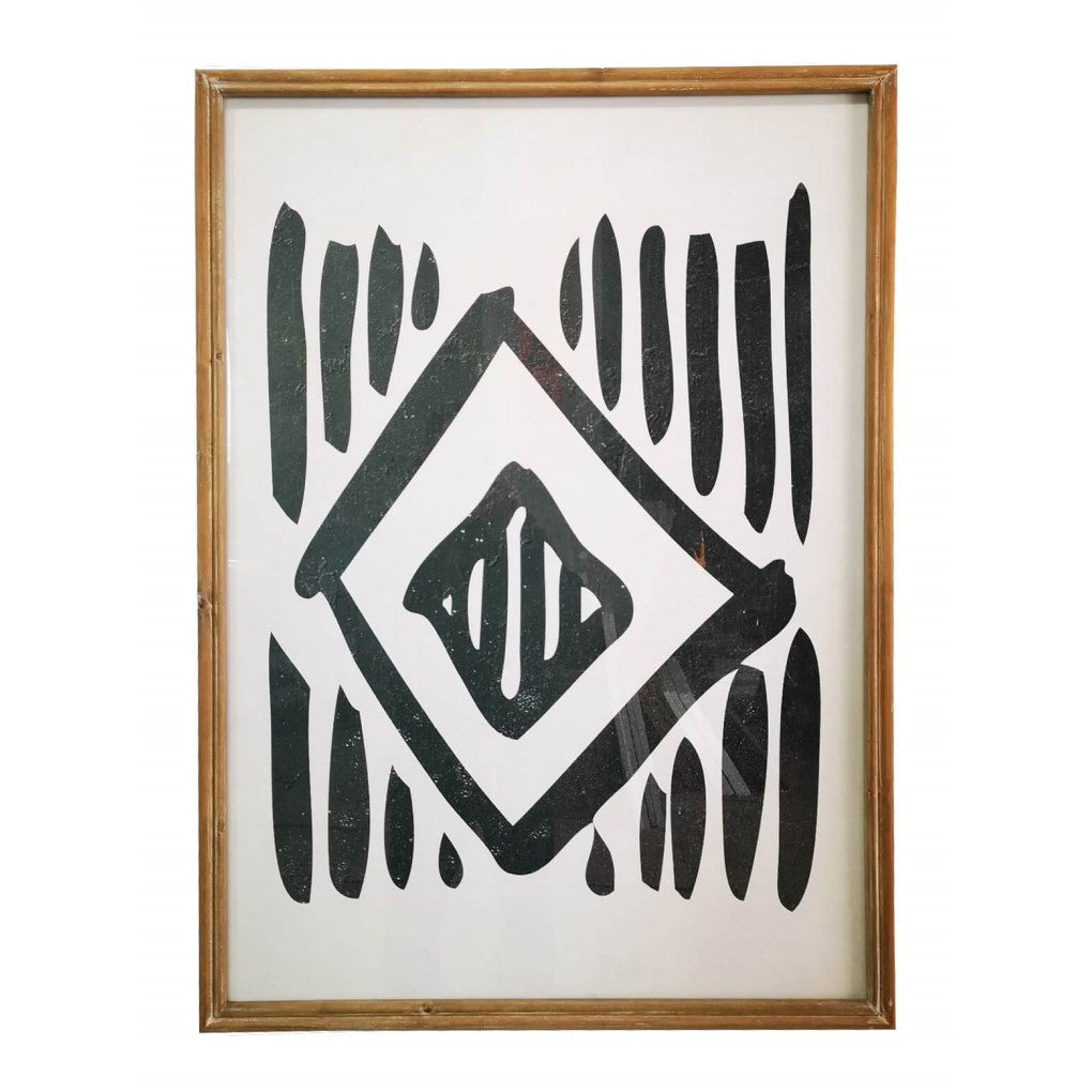Tribal Pattern Framed Glass Artwork
