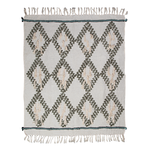 Acrylic Throw Natural With Diamond Pattern