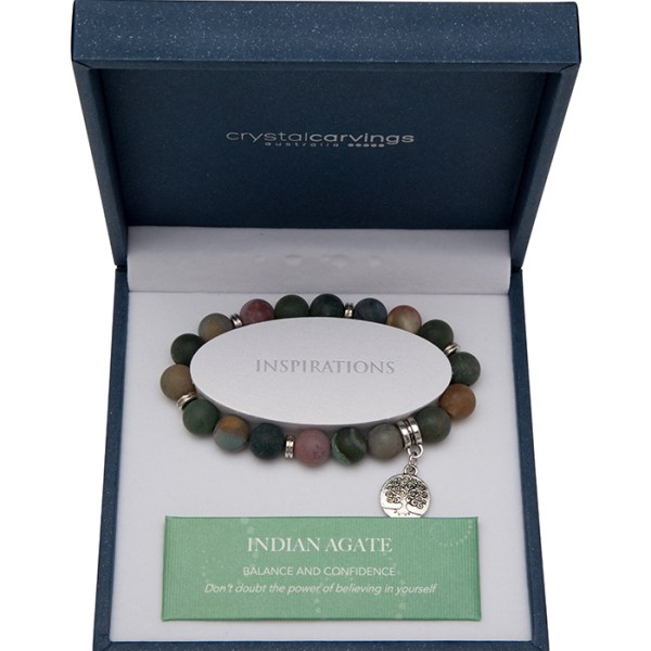 Indian Agate Matte Tree of Life Bracelet