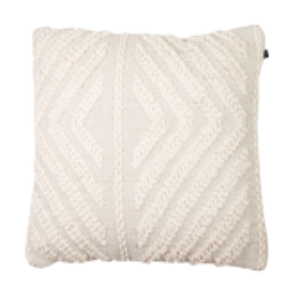 Hand Woven Embellished Cotton Cushion 45cm - Oat