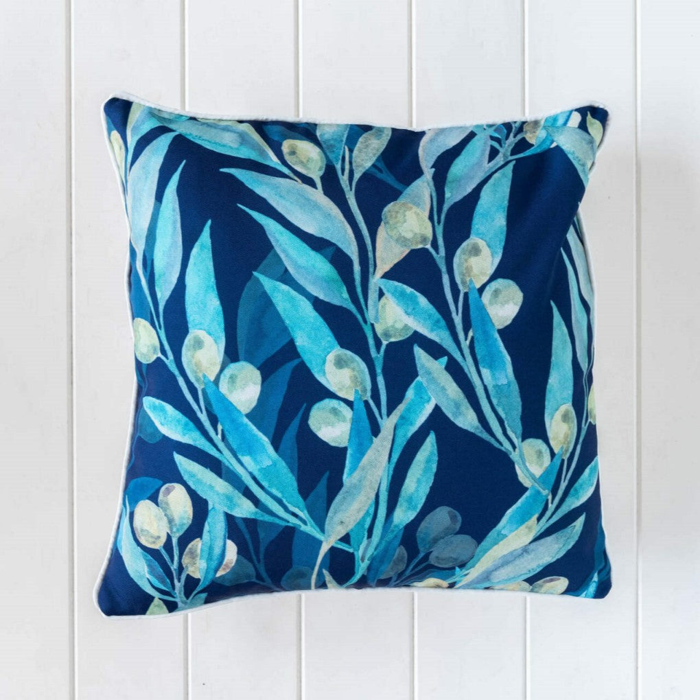 Outdoor Cushion 45x45cm Olive Branches Dusty Blue