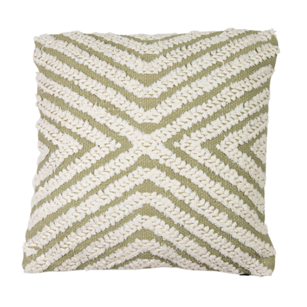 Hand Woven Embellished Cotton Cushion 45cm - Pea