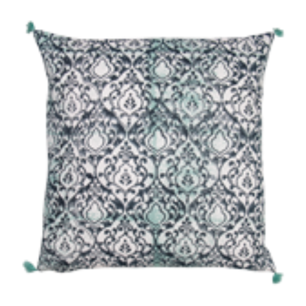 100% Hand Blocked Cushion Verte 45x45cm