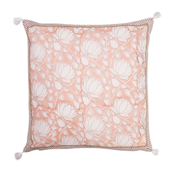 100% Hand Blocked Cushion Rose 45x45cm
