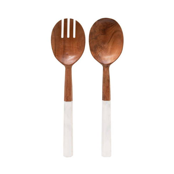 Sylvie Salad Servers 30cm Natural and White