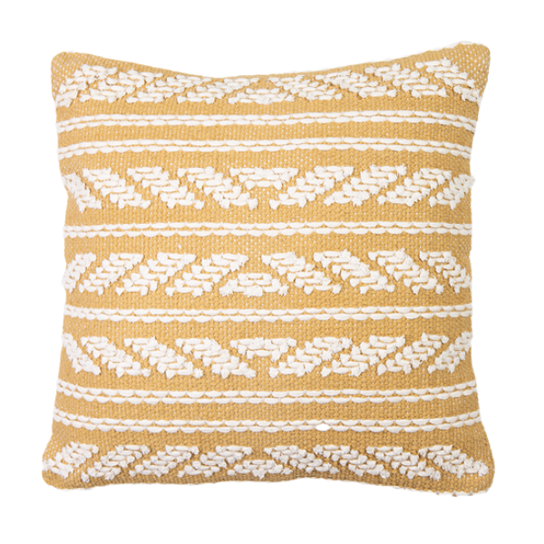 Hand Woven Embellished Cotton Cushion 45cm - Wheat