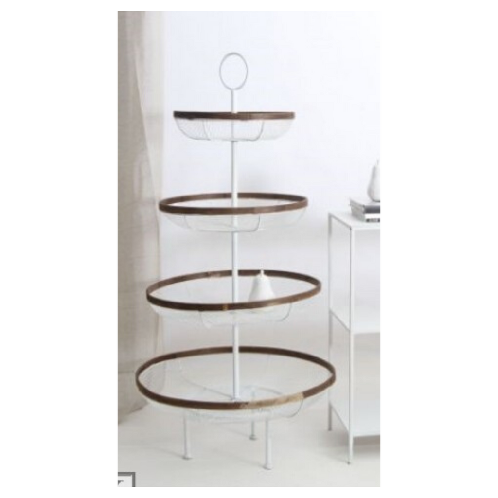 4 Tier Wire Round White Display 150Hx76W cm