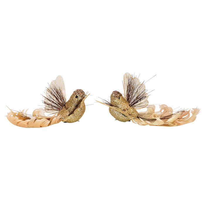 Feather Tinsel Gold Bird Clip On 16x11x5.5cm