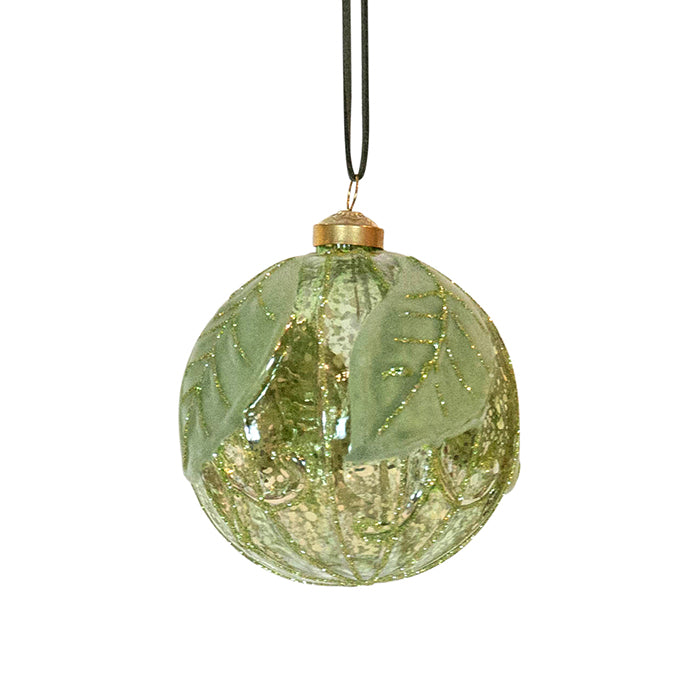 Green Mercury Leaf Glass Bauble 10cm