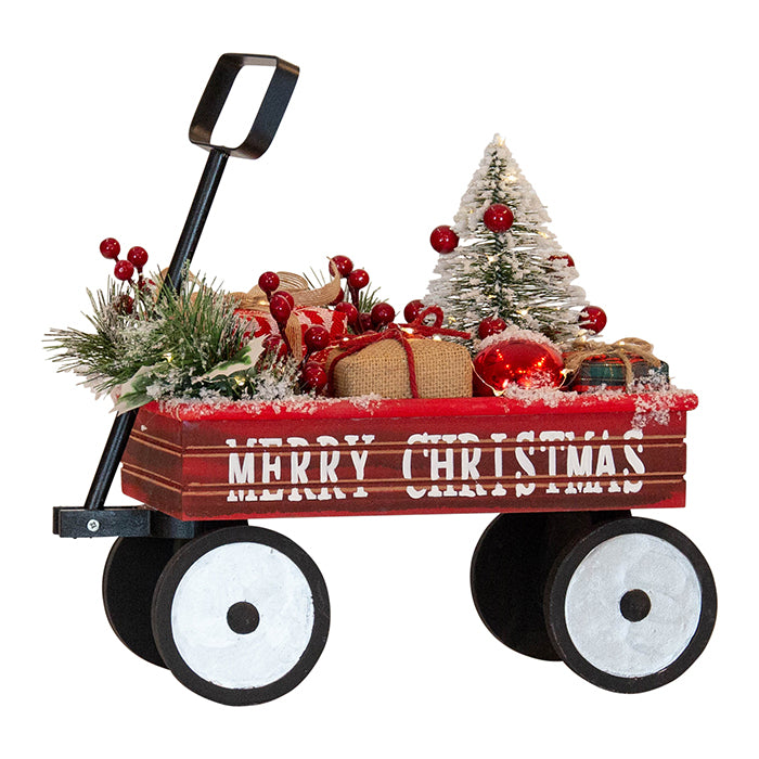 Red Christmas Cart W/LED Lights 38cm H