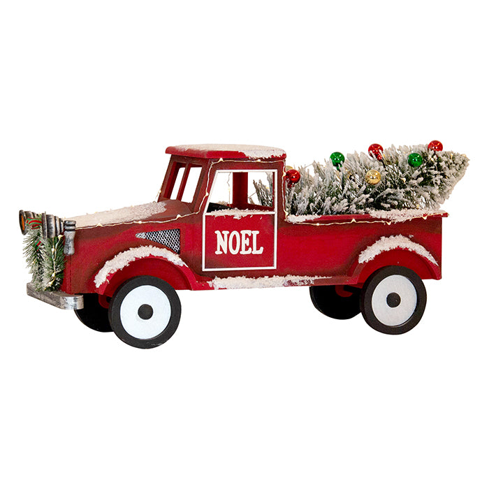 Red Noel Truck W/LED Lights 58cm