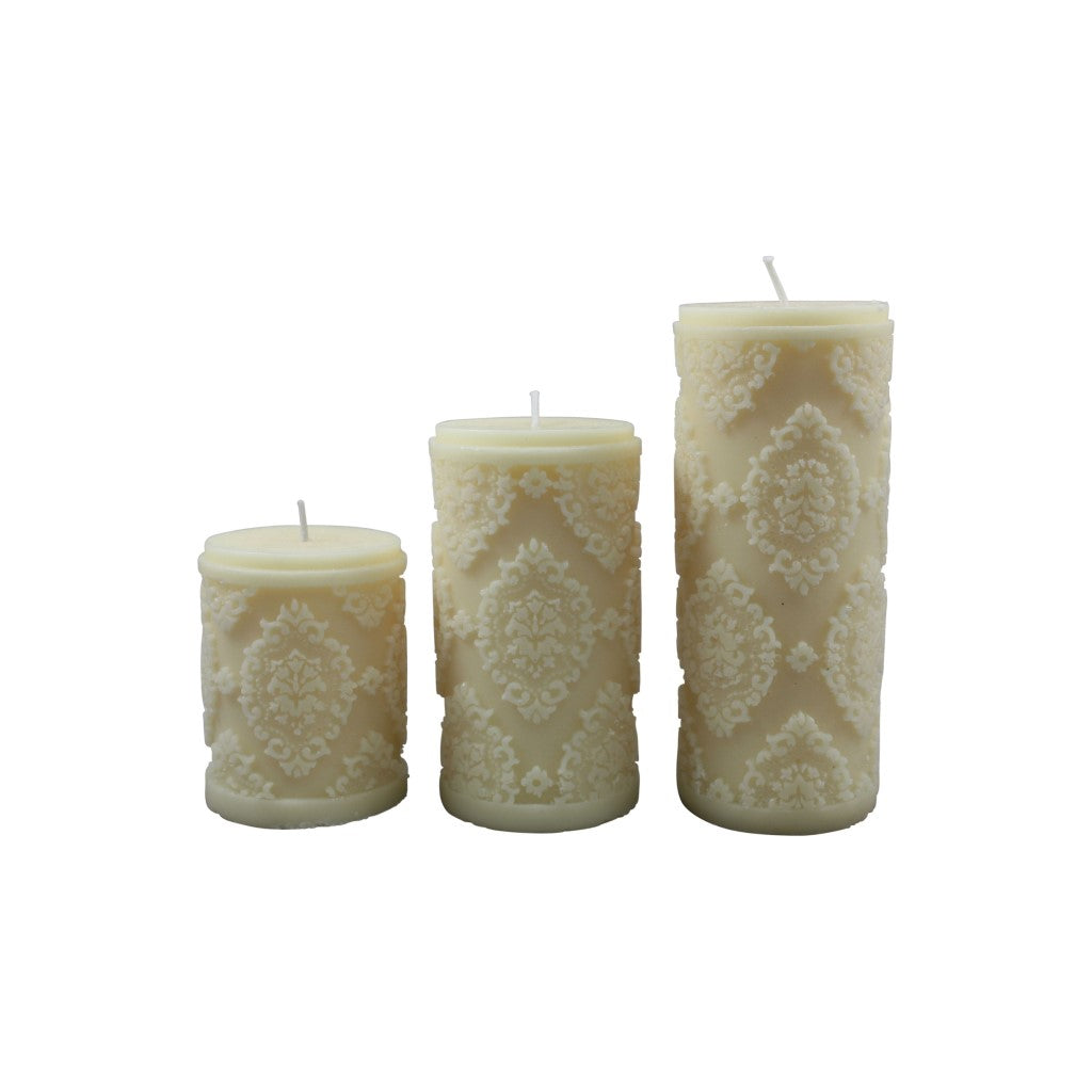 Diamond Pillar Candle - White M