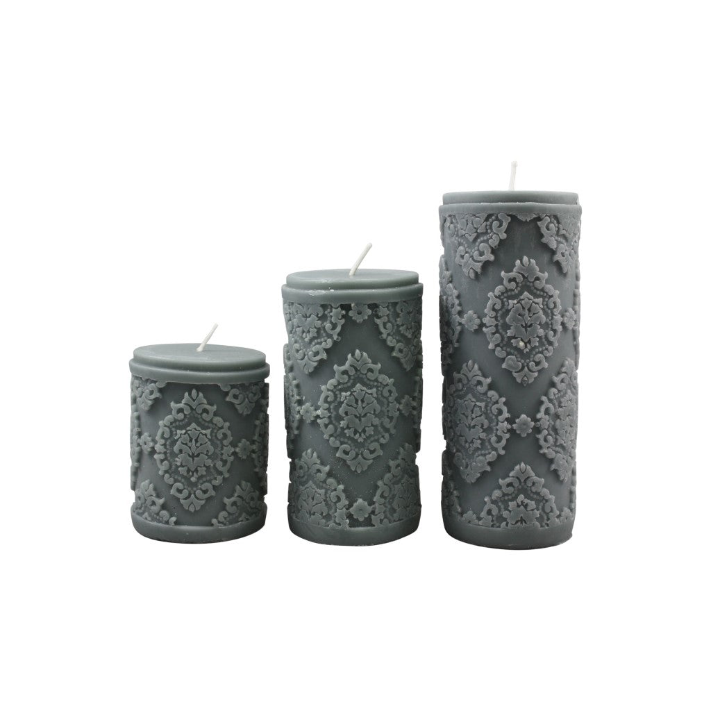 Diamond Pillar Candle - Grey M