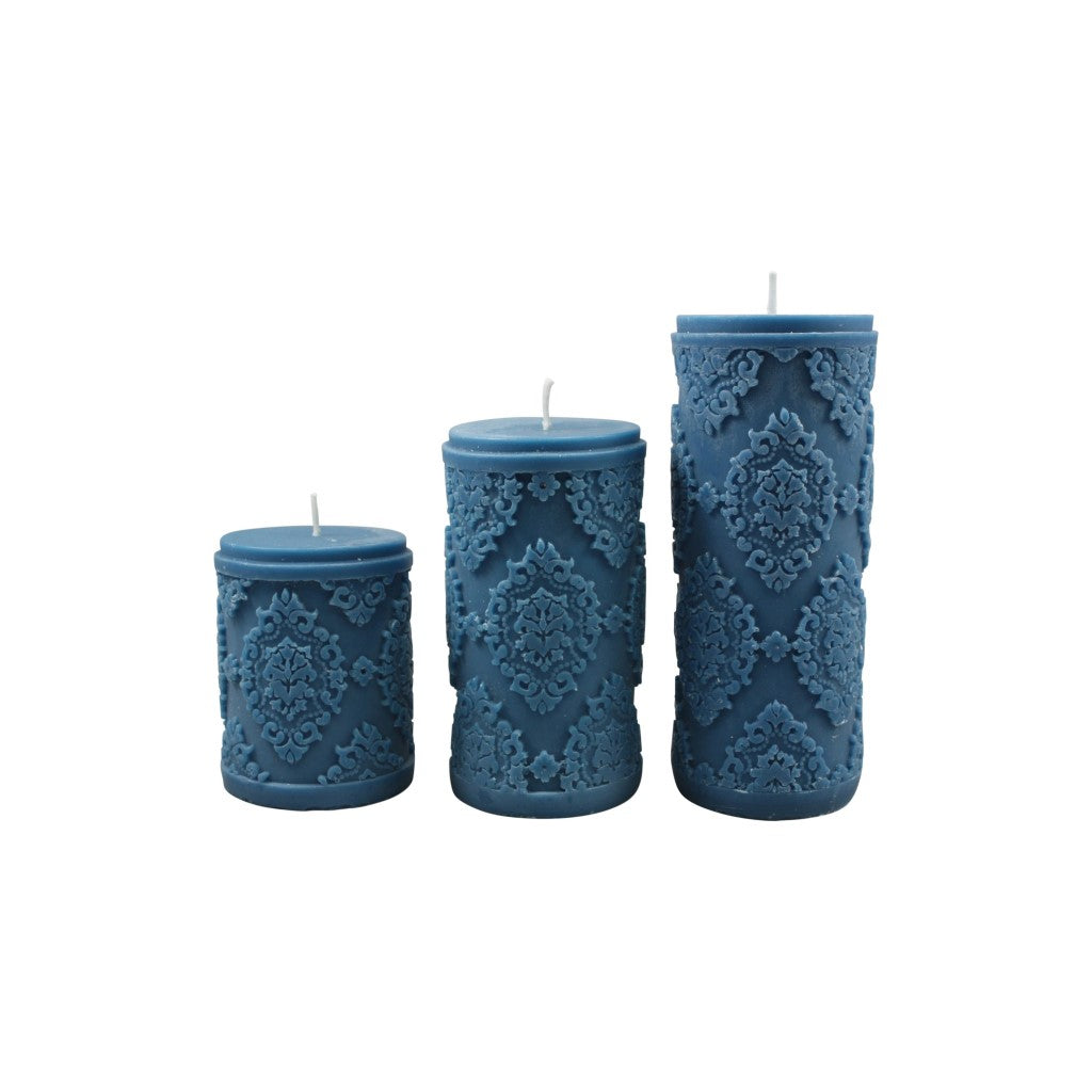 Diamond Pillar Candle - Navy M