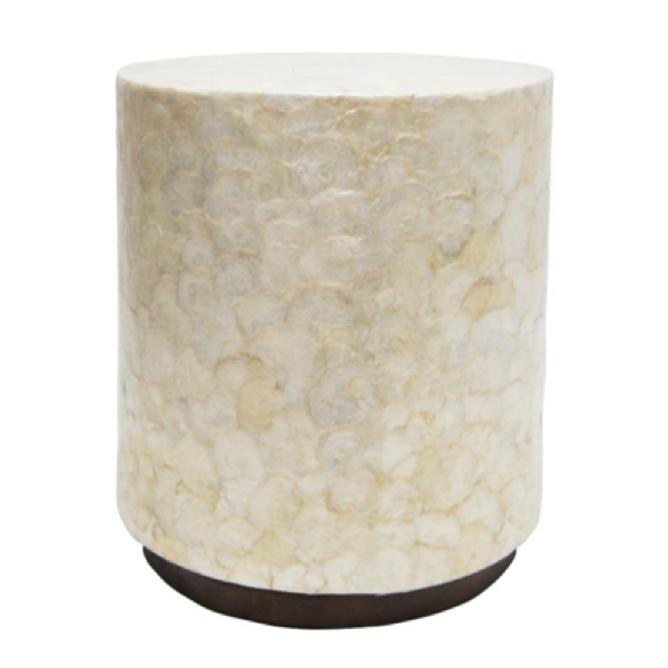 Hampton Capiz Shell Sidetable 59cm White