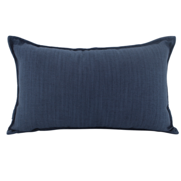 Linen Navy Feather Filled Cushion 30x50cm