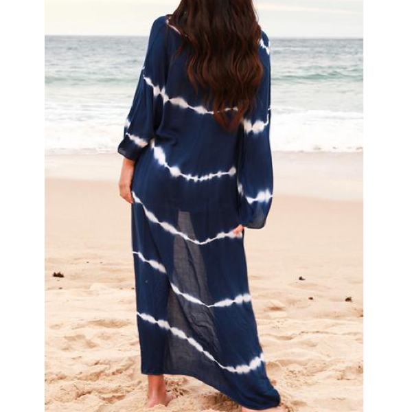 Navy White Stripe Long Kaftan