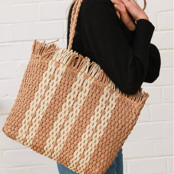 Stripe Woven Carry Bag Mustard