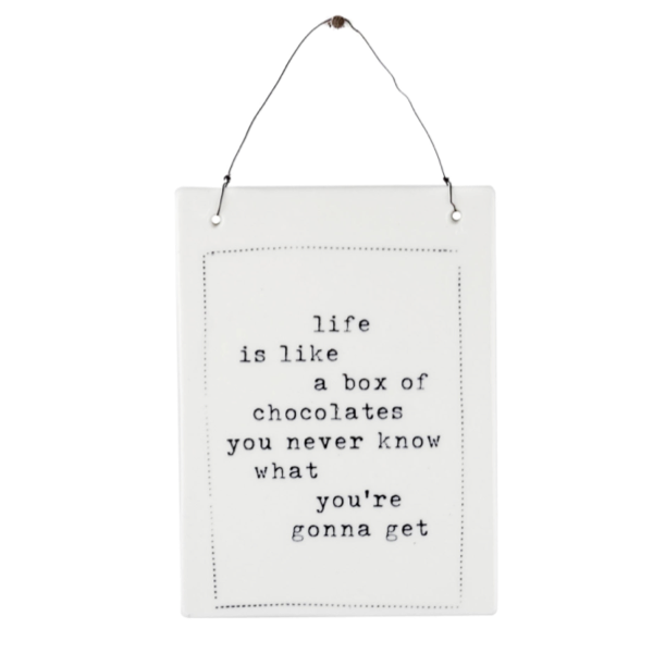 Box of Chocolates Ceramic Hanging Plaque 19x14cm