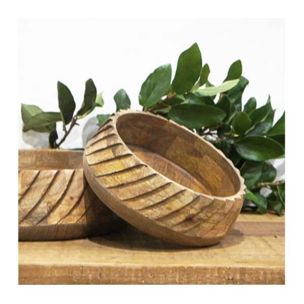 Leo Wood Carved Bowl 20cm Natural