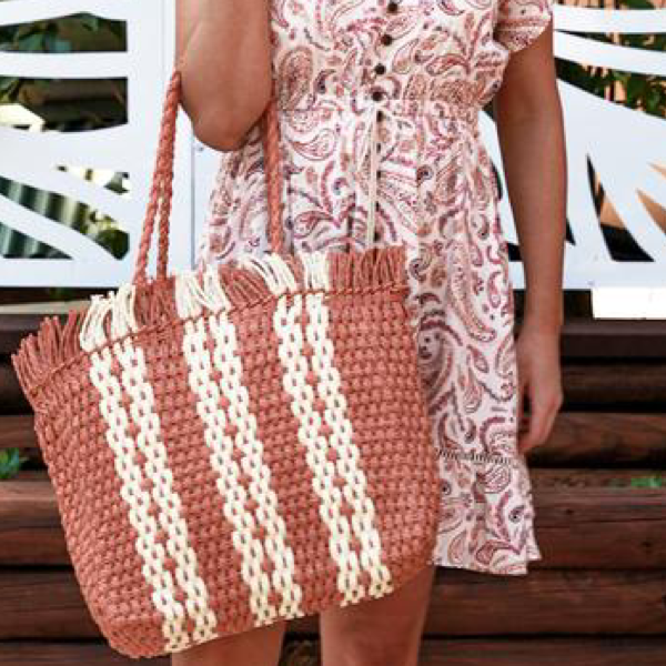 Stripe Woven Carry Bag Terracotta