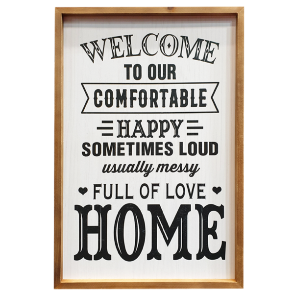 Comfortable Happy Home Wood Sign 53x40cm