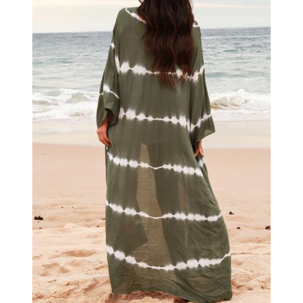 Khaki White Stripe Long Kaftan