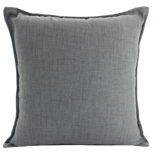 Linen Dark Grey Feather Filled Cushion 55x55cm
