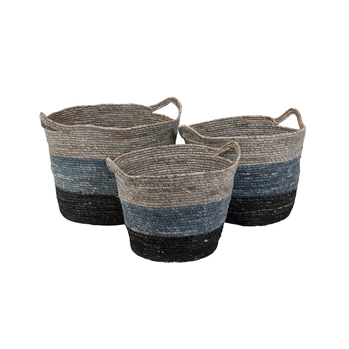 Grouse Cornhusk Navy Grey Basket Large