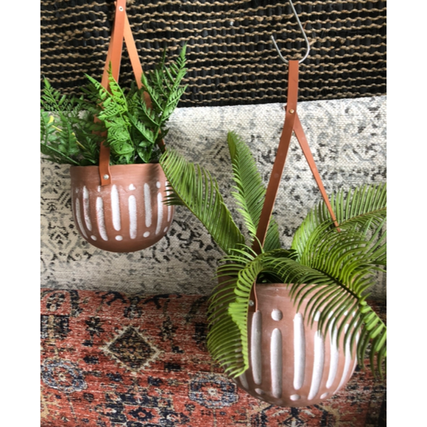 Haati Hanging Planter 16x17cm Terracotta and White