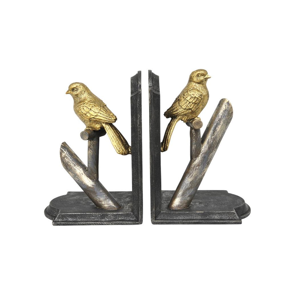 Verdant Resin Bird Bookends Antique Gold