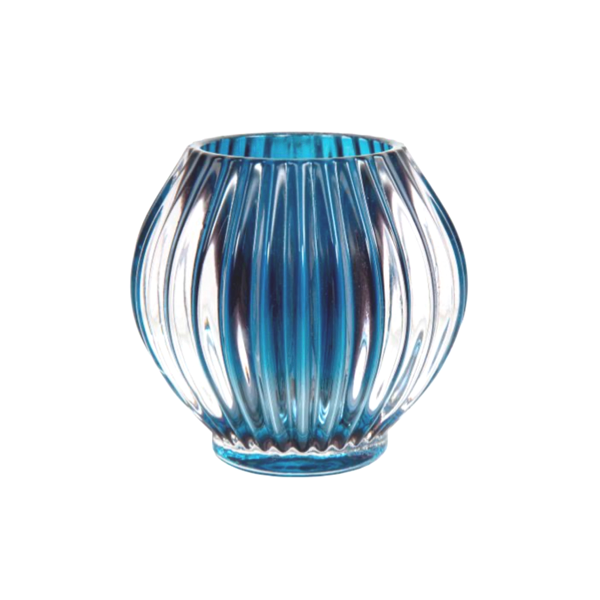 Ridged Tea Light Round 9x9x9cm Blue