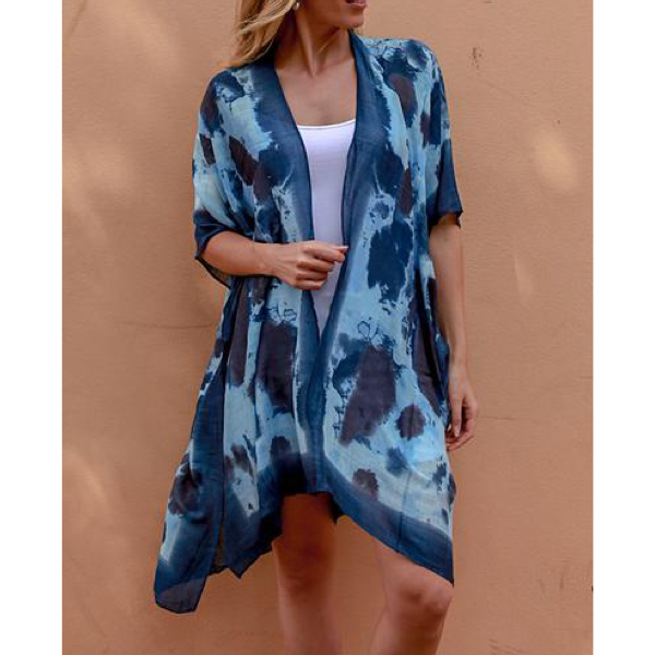 Blue 2 Tone Short Kaftan